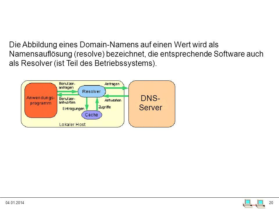 04.01.201420 Das Domain Name System Die Abbildung eines Domain-Namens auf einen Wert wird als Namensauflösung (resolve) bezeichnet, die entsprechende