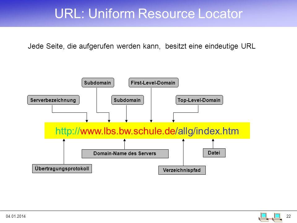04.01.201422 URL: Uniform Resource Locator Jede Seite, die aufgerufen werden kann, besitzt eine eindeutige URL http://www.lbs.bw.schule.de/allg/index.