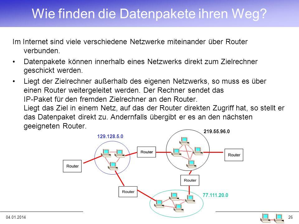 04.01.201426 Wie finden die Datenpakete ihren Weg? Im Internet sind viele verschiedene Netzwerke miteinander über Router verbunden. Datenpakete können