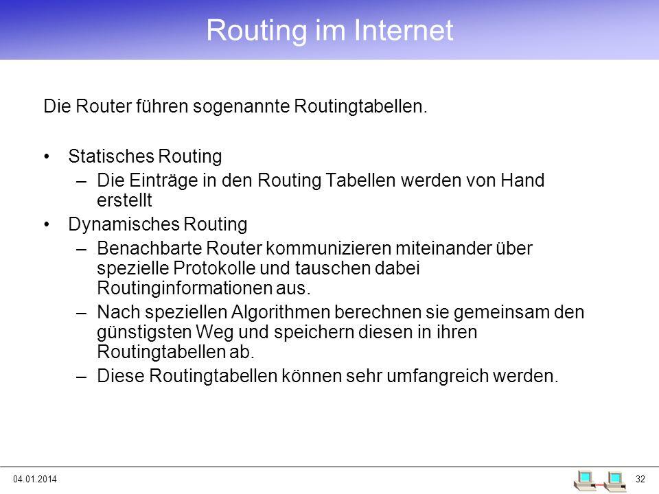 04.01.201432 Routing im Internet Statisches Routing –Die Einträge in den Routing Tabellen werden von Hand erstellt Dynamisches Routing –Benachbarte Ro