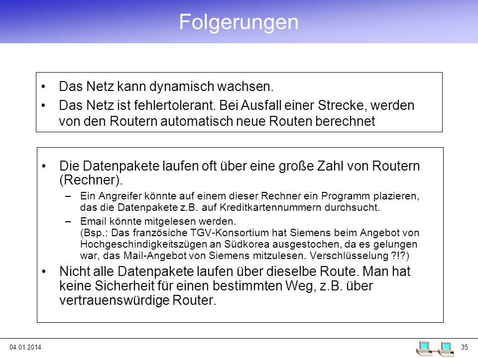 04.01.201435 Folgerungen Die Datenpakete laufen oft über eine große Zahl von Routern (Rechner). –Ein Angreifer könnte auf einem dieser Rechner ein Pro