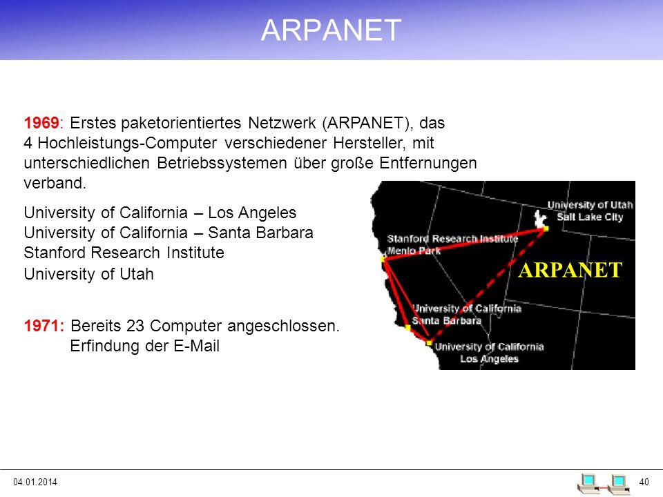 04.01.201440 ARPANET 1971: Bereits 23 Computer angeschlossen. Erfindung der E-Mail 1969: Erstes paketorientiertes Netzwerk (ARPANET), das 4 Hochleistu