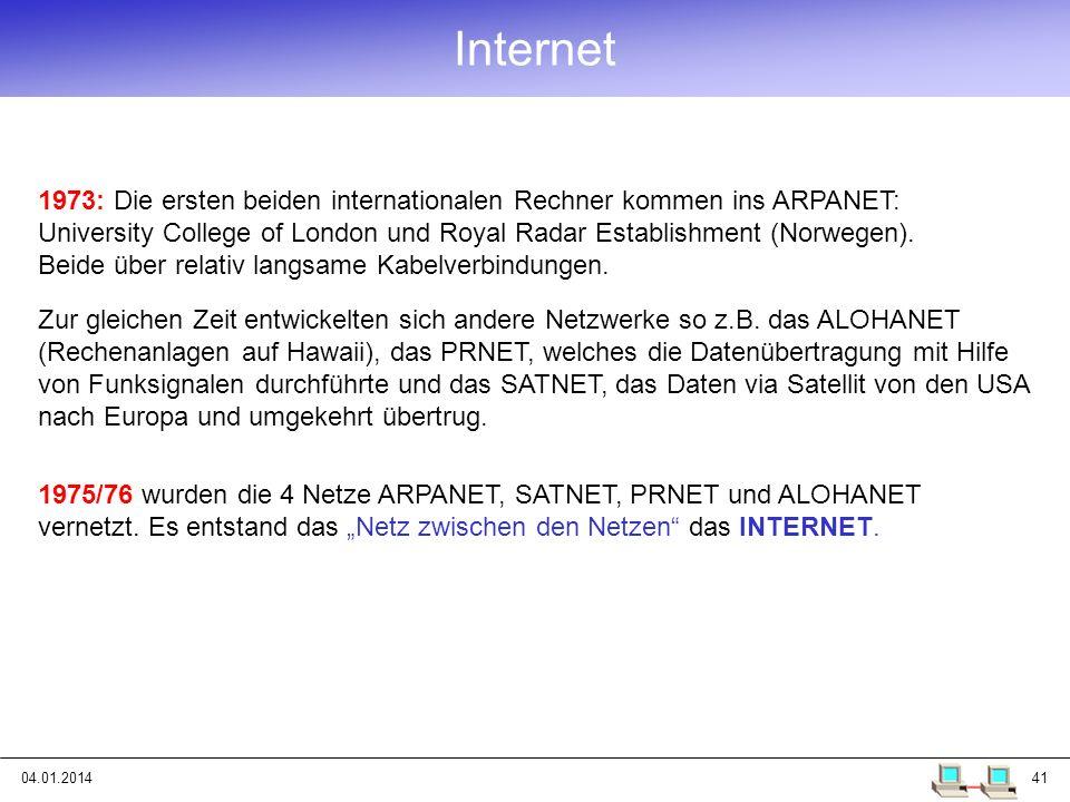 04.01.201441 Internet 1973: Die ersten beiden internationalen Rechner kommen ins ARPANET: University College of London und Royal Radar Establishment (