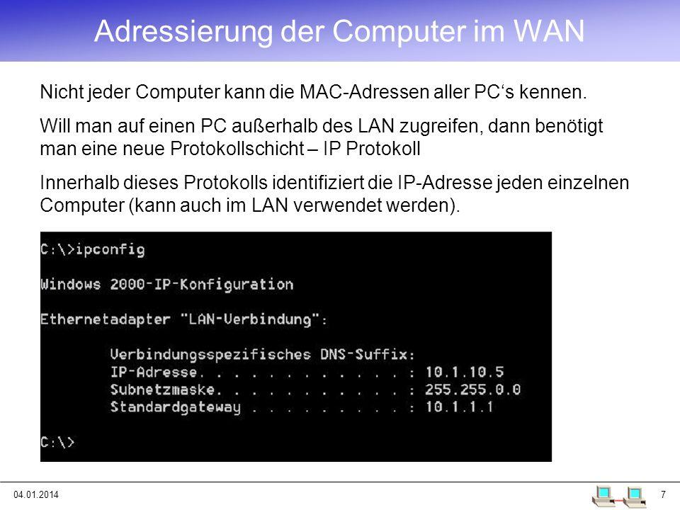 04.01.20147 Nicht jeder Computer kann die MAC-Adressen aller PCs kennen. Will man auf einen PC außerhalb des LAN zugreifen, dann benötigt man eine neu