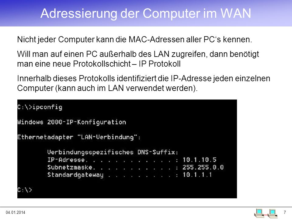 04.01.201448 IPv6 IPv4: 32 Bit = 4 Byte 2 32 = 4 294 967 296 Adressen IPv6 128 Bit = 16 Byte 2 128 = 3,4.