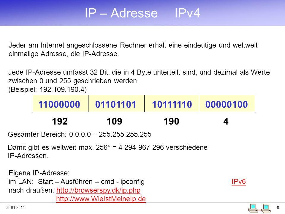 04.01.20148 IP – Adresse IPv4 Jede IP-Adresse umfasst 32 Bit, die in 4 Byte unterteilt sind, und dezimal als Werte zwischen 0 und 255 geschrieben werd