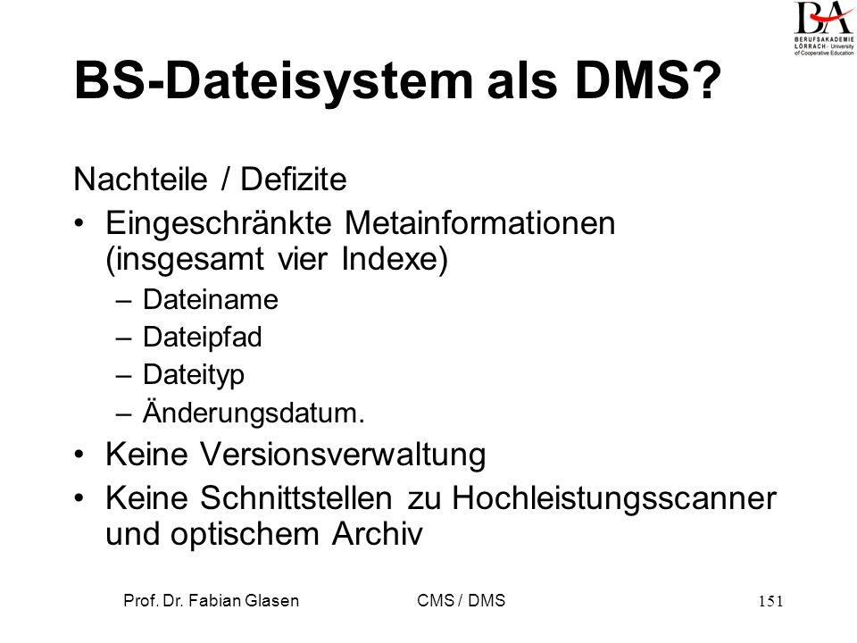 Prof.Dr. Fabian Glasen CMS / DMS151 BS-Dateisystem als DMS.