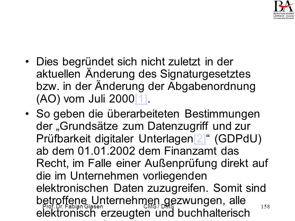 Prof. Dr. Fabian Glasen CMS / DMS159