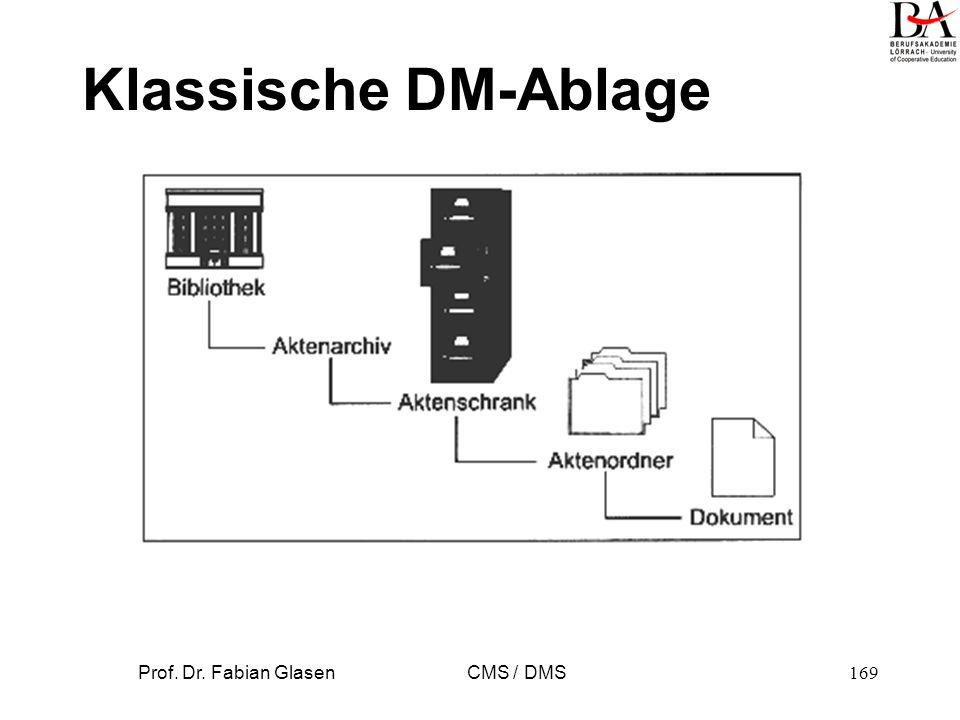 Prof. Dr. Fabian Glasen CMS / DMS169 Klassische DM-Ablage