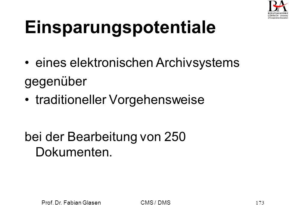 Prof. Dr. Fabian Glasen CMS / DMS174 DMS Einsparungspotential