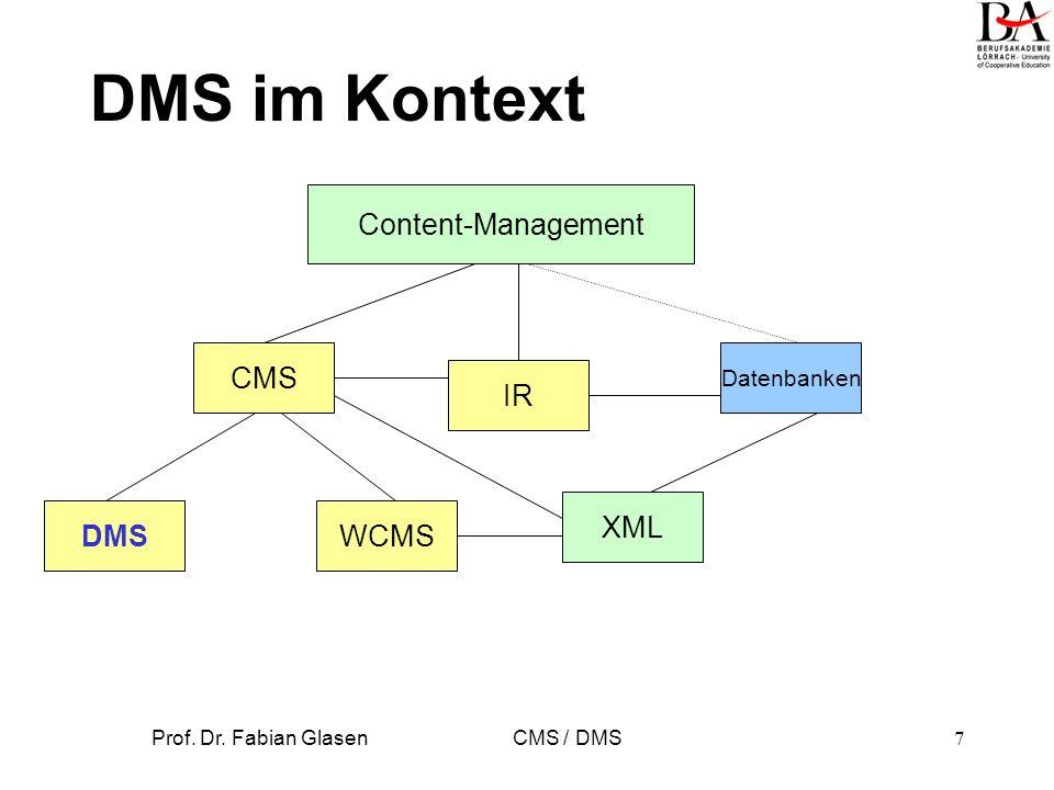 Prof. Dr. Fabian Glasen CMS / DMS8 DMS Definition DMS sind Systeme, die Dokumente verwalten