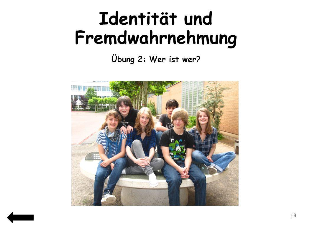 19 Identität und Fremdwahrnehmung Übung 2: Wer ist wer?