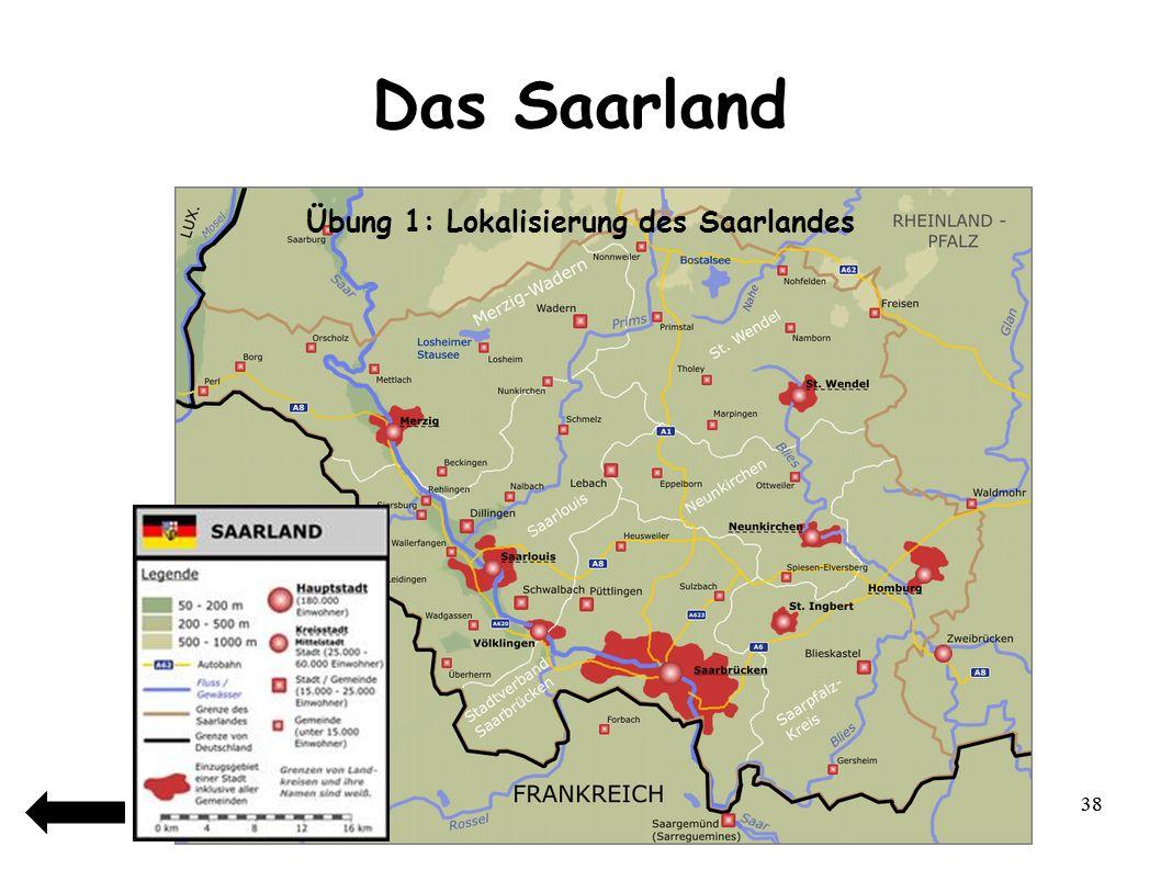 39 Das Saarland Das Saarland ist benannt nach … 1)Ein Fluss 2)Ein Berg 3)Ein Wald 4)Eine Stadt