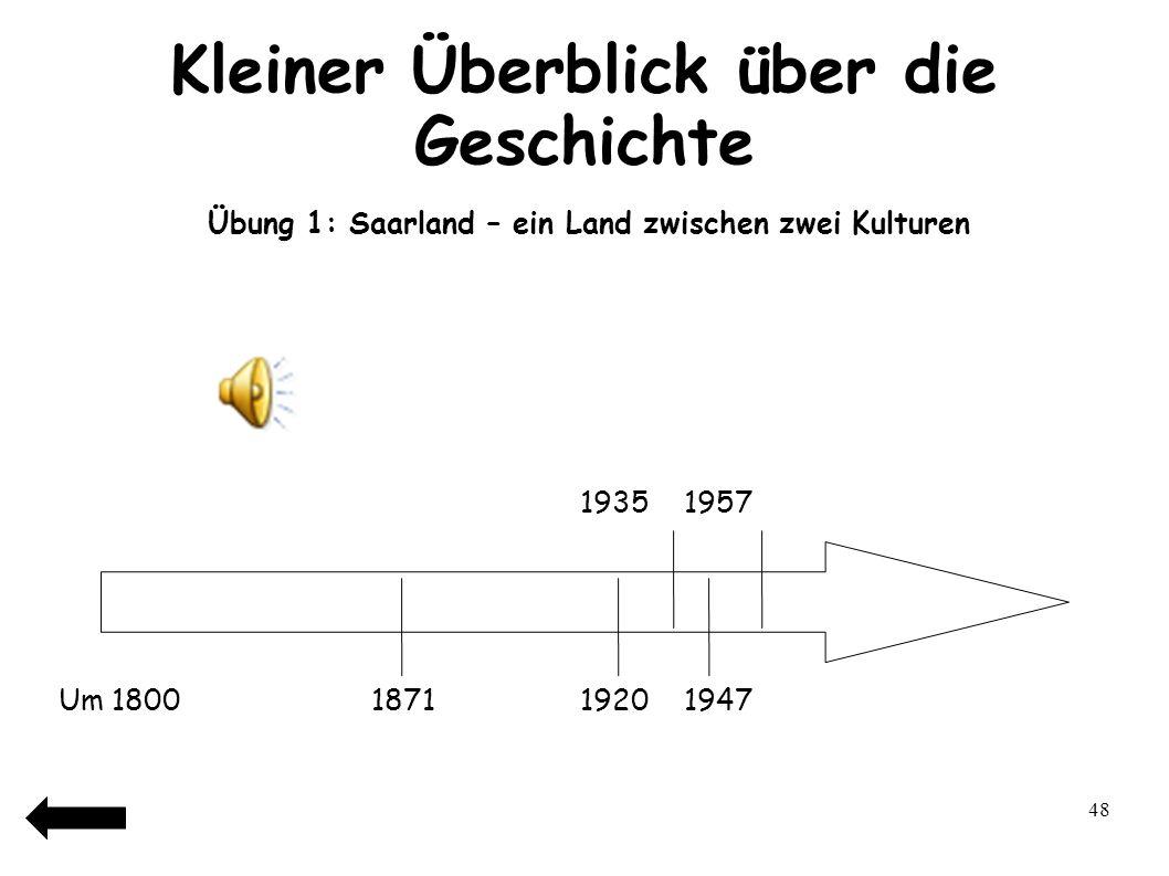 49 Kleiner Überblick über die Geschichte Übung 1: Saarland – ein Land zwischen zwei Kulturen 19351957 DDFDFD Um 1800187119201947