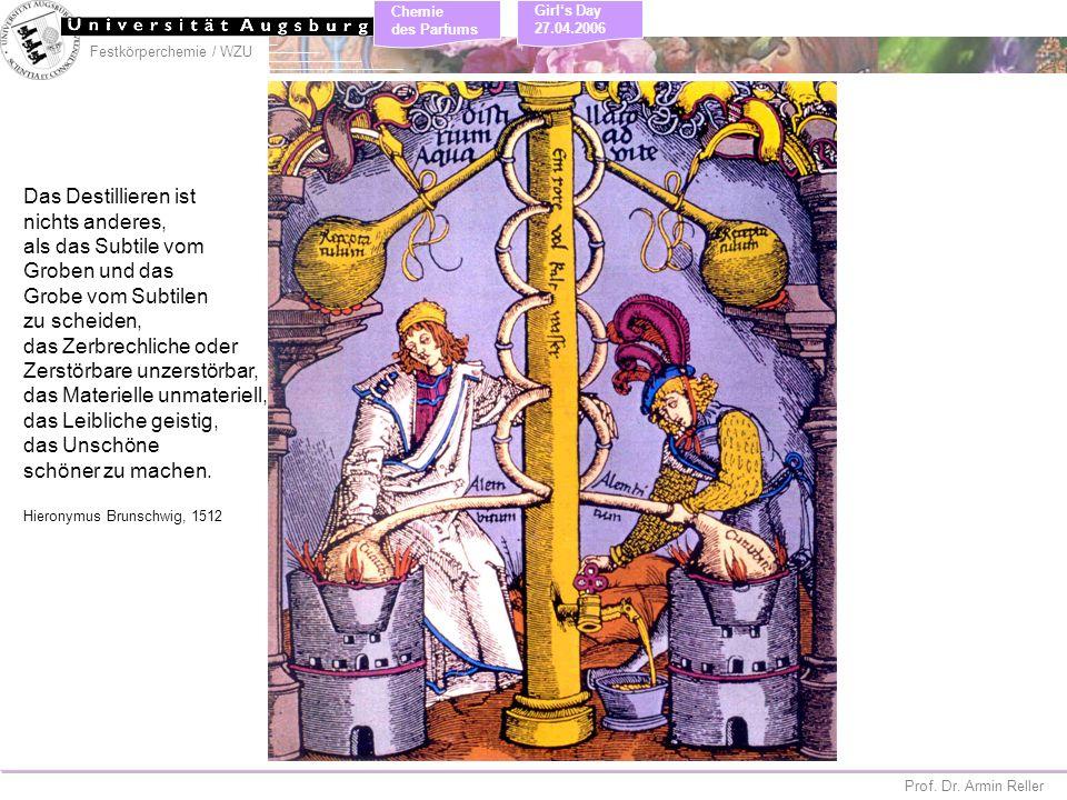 Festkörperchemie / WZU Chemie des Parfums Prof. Dr. Armin Reller Girls Day 27.04.2006 Das Destillieren ist nichts anderes, als das Subtile vom Groben