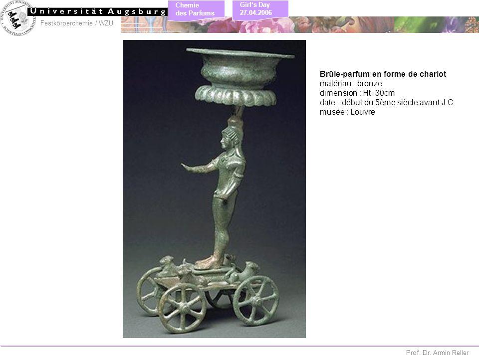 Festkörperchemie / WZU Chemie des Parfums Prof. Dr. Armin Reller Girls Day 27.04.2006 Brûle-parfum en forme de chariot matériau : bronze dimension : H