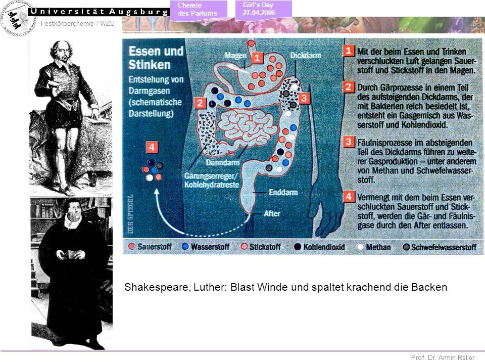 Festkörperchemie / WZU Chemie des Parfums Prof. Dr. Armin Reller Girls Day 27.04.2006 Shakespeare, Luther: Blast Winde und spaltet krachend die Backen