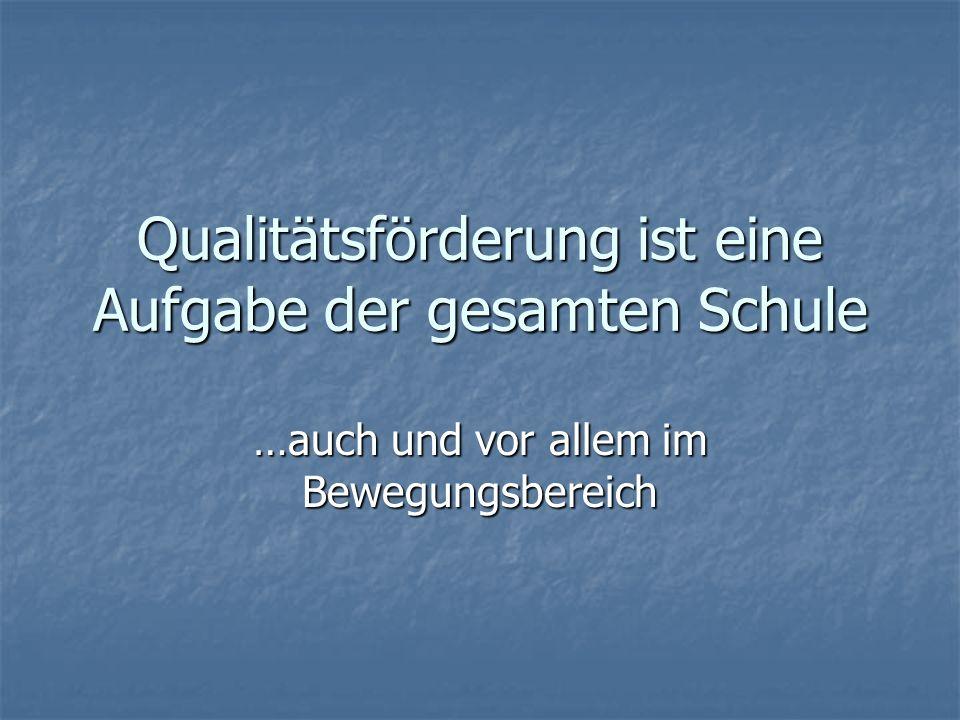 Qualitätsförderung ist eine Aufgabe der gesamten Schule ….