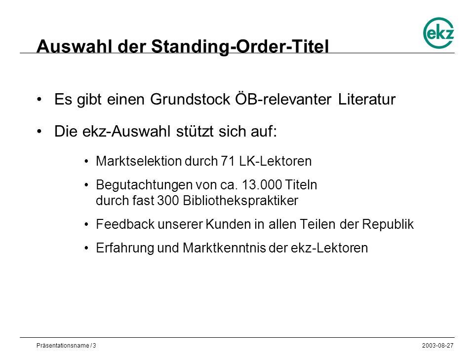 Präsentationsname / 32003-08-27 Auswahl der Standing-Order-Titel Es gibt einen Grundstock ÖB-relevanter Literatur Die ekz-Auswahl stützt sich auf: Marktselektion durch 71 LK-Lektoren Begutachtungen von ca.