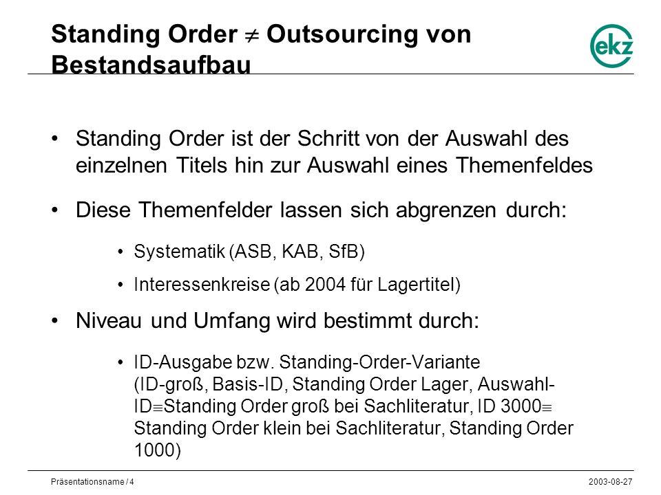 Präsentationsname / 42003-08-27 Standing Order Outsourcing von Bestandsaufbau Standing Order ist der Schritt von der Auswahl des einzelnen Titels hin zur Auswahl eines Themenfeldes Diese Themenfelder lassen sich abgrenzen durch: Systematik (ASB, KAB, SfB) Interessenkreise (ab 2004 für Lagertitel) Niveau und Umfang wird bestimmt durch: ID-Ausgabe bzw.