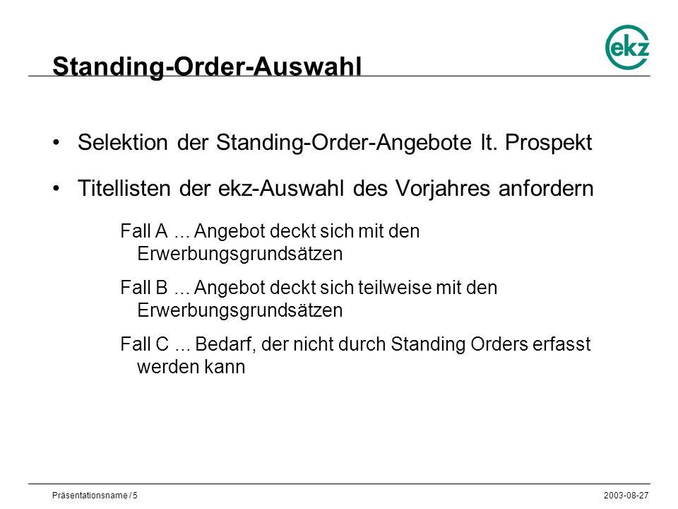 Präsentationsname / 52003-08-27 Standing-Order-Auswahl Selektion der Standing-Order-Angebote lt.