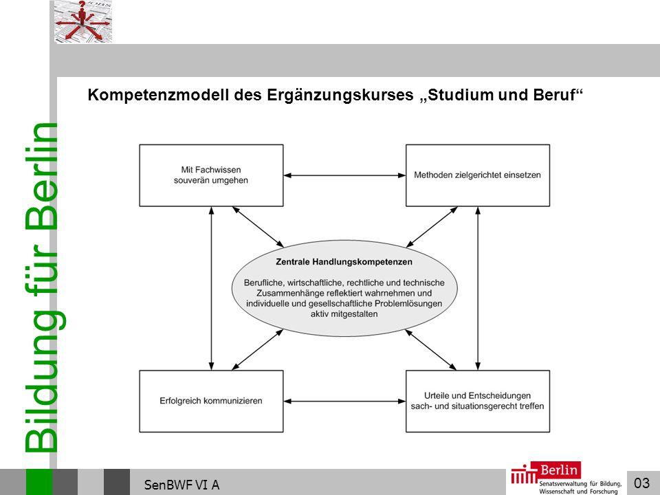 03 Bildung für Berlin SenBWF VI A Kompetenzmodell des Ergänzungskurses Studium und Beruf