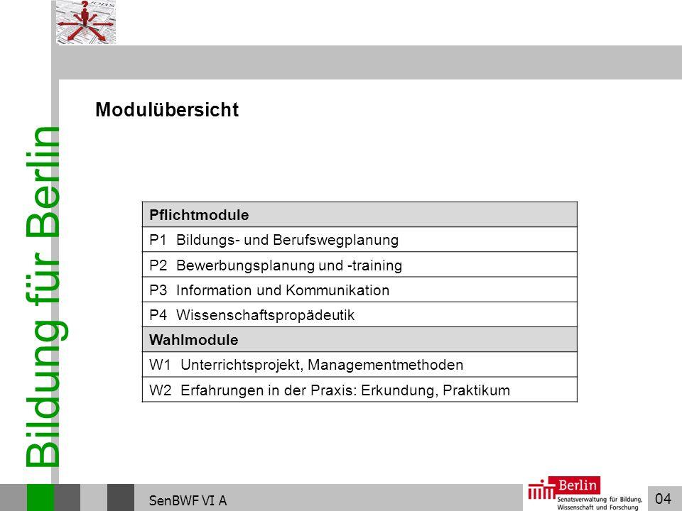 04 Bildung für Berlin SenBWF VI A Modulübersicht Pflichtmodule P1 Bildungs- und Berufswegplanung P2 Bewerbungsplanung und -training P3 Information und