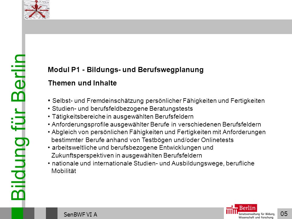 05 Bildung für Berlin SenBWF VI A Modul P1 - Bildungs- und Berufswegplanung Themen und Inhalte Selbst- und Fremdeinschätzung persönlicher Fähigkeiten