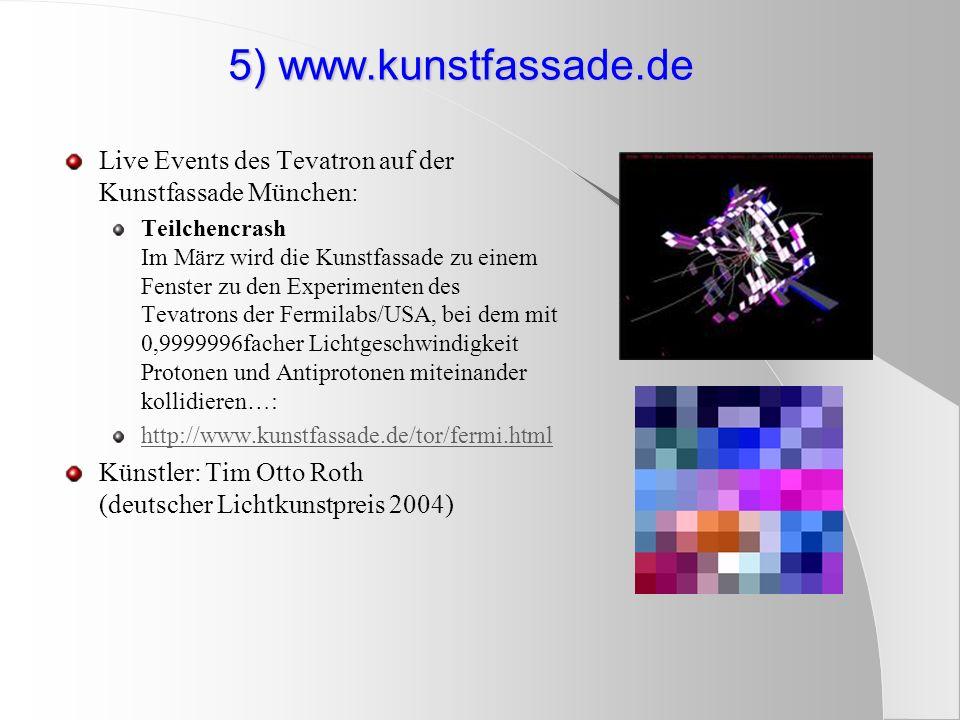 5) www.kunstfassade.de Live Events des Tevatron auf der Kunstfassade München: Teilchencrash Im März wird die Kunstfassade zu einem Fenster zu den Expe
