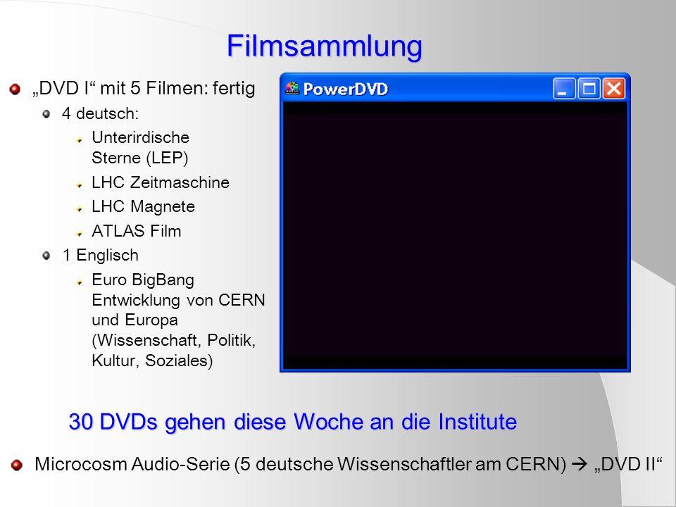 Filmsammlung DVD I mit 5 Filmen: fertig 4 deutsch: Unterirdische Sterne (LEP) LHC Zeitmaschine LHC Magnete ATLAS Film 1 Englisch Euro BigBang Entwickl