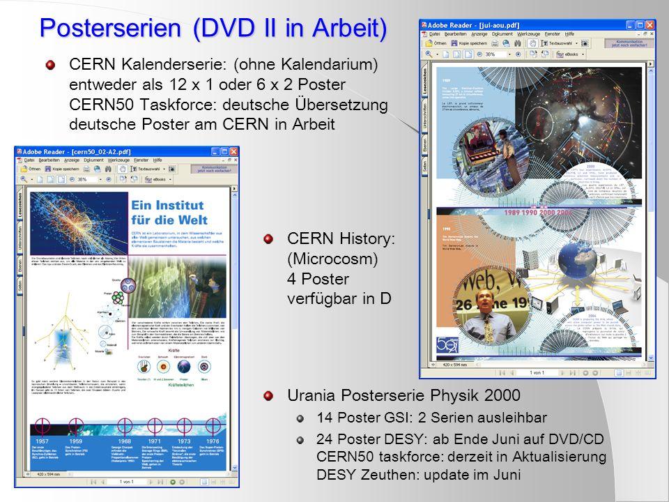 Posterserien (DVD II in Arbeit) CERN Kalenderserie: (ohne Kalendarium) entweder als 12 x 1 oder 6 x 2 Poster CERN50 Taskforce: deutsche Übersetzung de