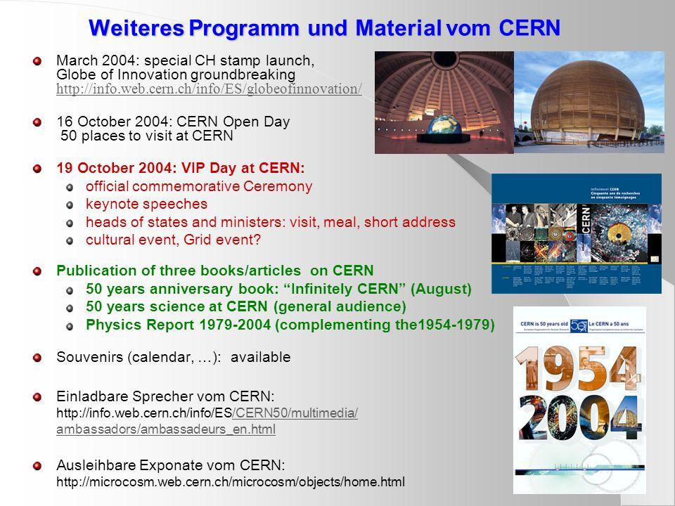 Weiteres Programm und Material vom CERN March 2004: special CH stamp launch, Globe of Innovation groundbreaking http://info.web.cern.ch/info/ES/globeo