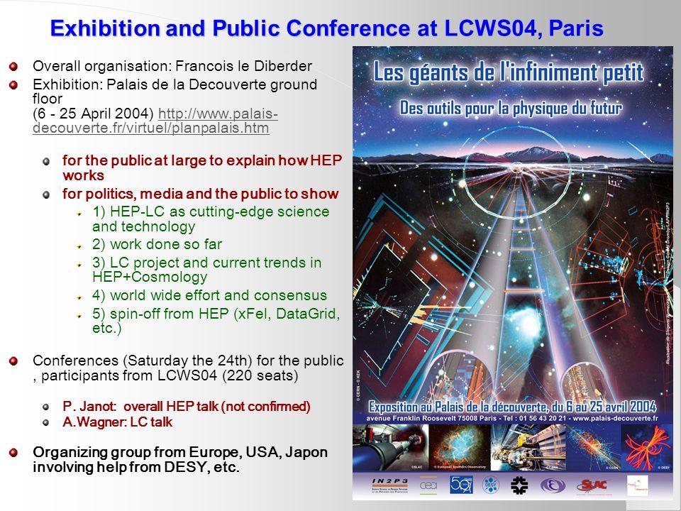Exhibition and Public Conference at LCWS04, Paris Overall organisation: Francois le Diberder Exhibition: Palais de la Decouverte ground floor (6 - 25