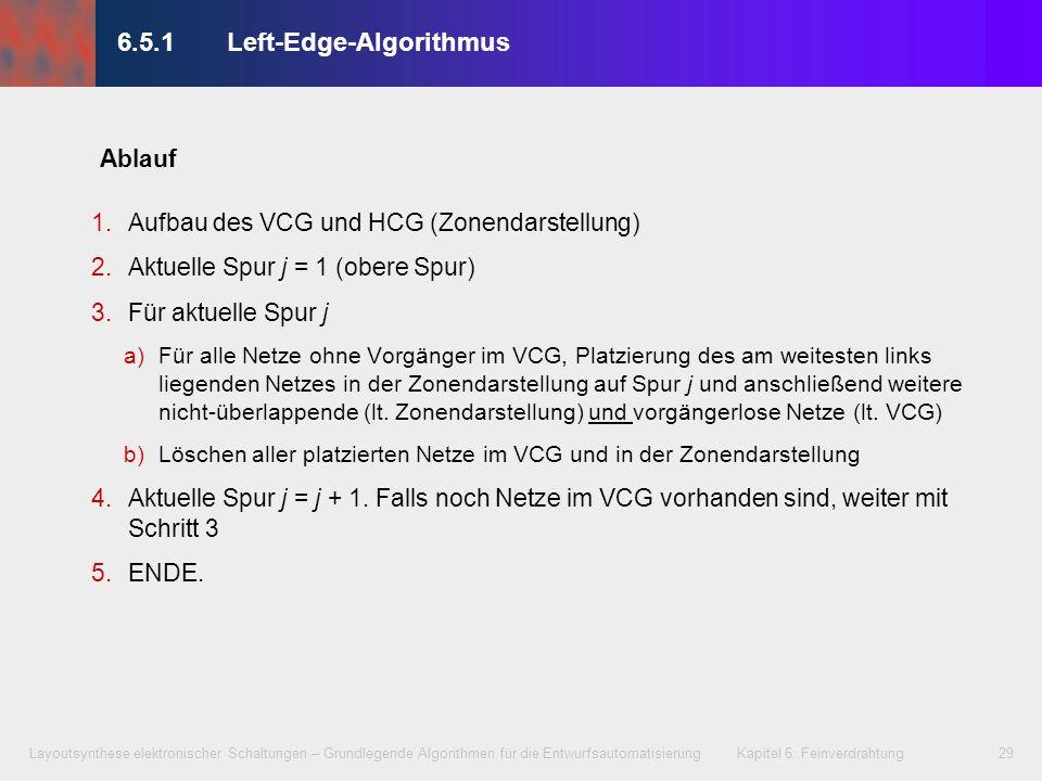 Layoutsynthese elektronischer Schaltungen – Grundlegende Algorithmen für die Entwurfsautomatisierung Kapitel 6: Feinverdrahtung29 6.5.1 Left-Edge-Algo