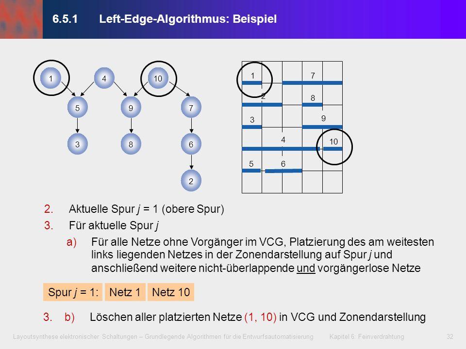 Layoutsynthese elektronischer Schaltungen – Grundlegende Algorithmen für die Entwurfsautomatisierung Kapitel 6: Feinverdrahtung33 3.Für aktuelle Spur j a)Für alle Netze ohne Vorgänger im VCG, Platzierung des am weitesten links liegenden Netzes in der Zonendarstellung auf Spur j und anschließend weitere nicht-überlappende und vorgängerlose Netze Spur j = 2: Aktuelle Spur j = j + 1, falls noch Netze in VCG, weiter mit 3.