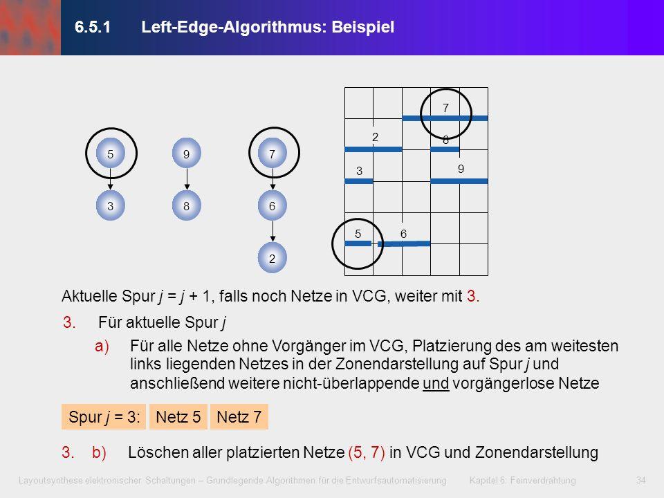 Layoutsynthese elektronischer Schaltungen – Grundlegende Algorithmen für die Entwurfsautomatisierung Kapitel 6: Feinverdrahtung34 3.Für aktuelle Spur