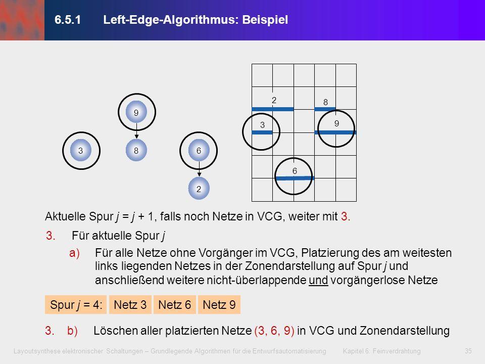 Layoutsynthese elektronischer Schaltungen – Grundlegende Algorithmen für die Entwurfsautomatisierung Kapitel 6: Feinverdrahtung35 3.Für aktuelle Spur