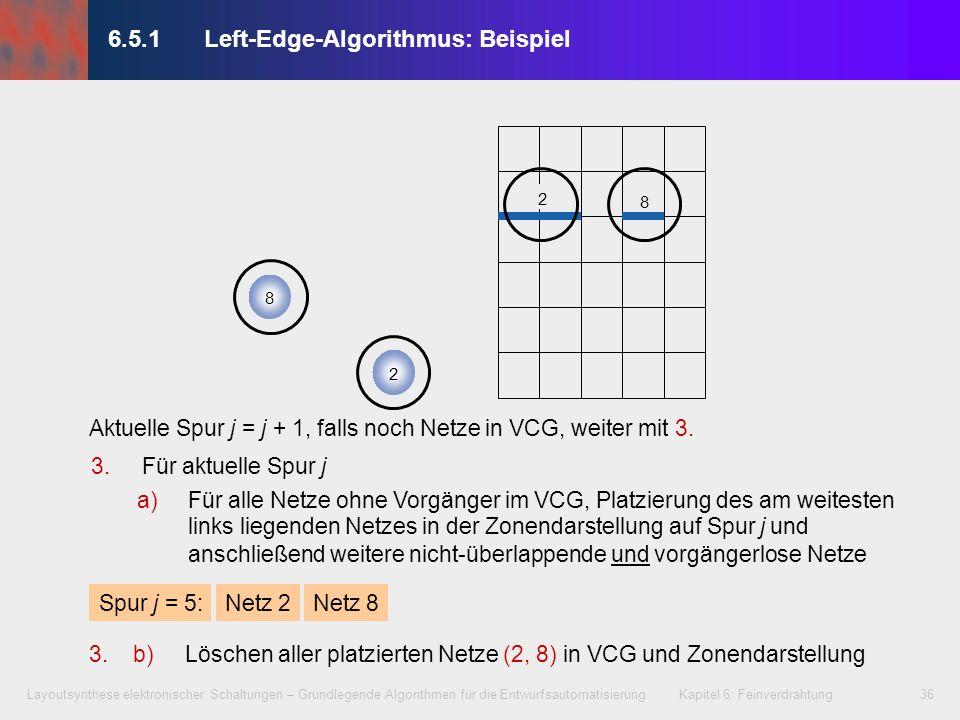 Layoutsynthese elektronischer Schaltungen – Grundlegende Algorithmen für die Entwurfsautomatisierung Kapitel 6: Feinverdrahtung37 014517604910 235352689879 j = 1 2 3 4 5 6.5.1Left-Edge-Algorithmus: Beispiel Verdrahtungsergebnis