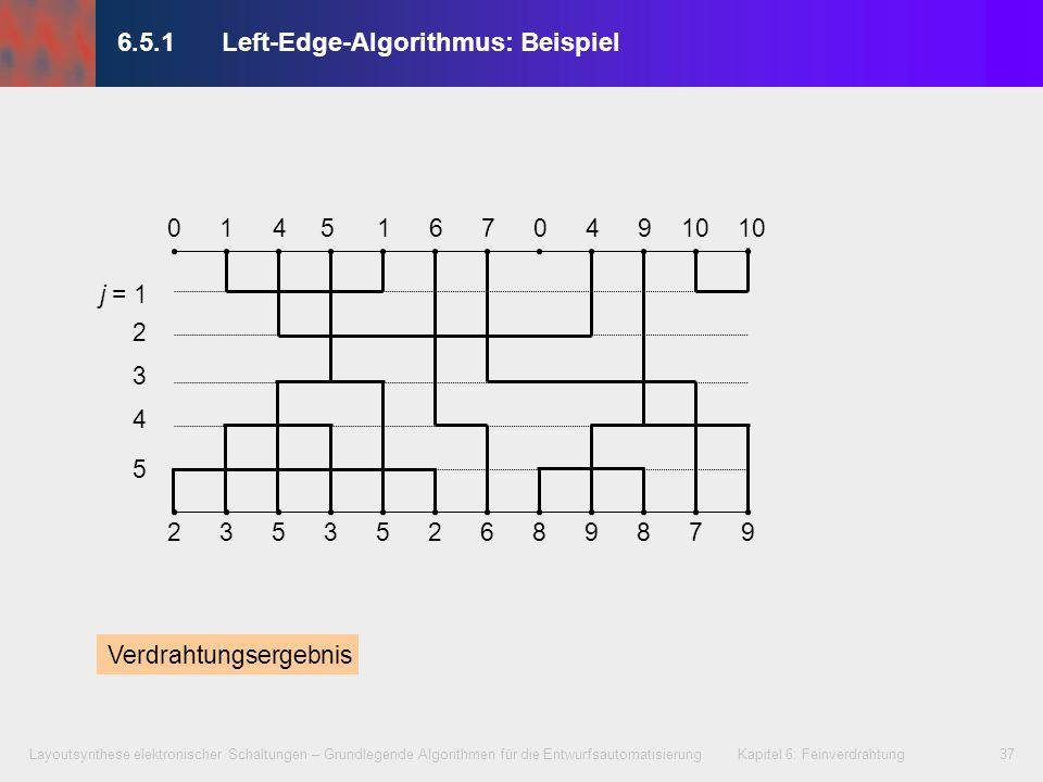 Layoutsynthese elektronischer Schaltungen – Grundlegende Algorithmen für die Entwurfsautomatisierung Kapitel 6: Feinverdrahtung38 6.5.1Left-Edge-Algorithmus Einfache Heuristik Nachteil: erfordert schleifenfreien VCG, also keine vertikalen zyklischen Anschlusskonflikte 12 201 1 2 0 Zusammenfassung