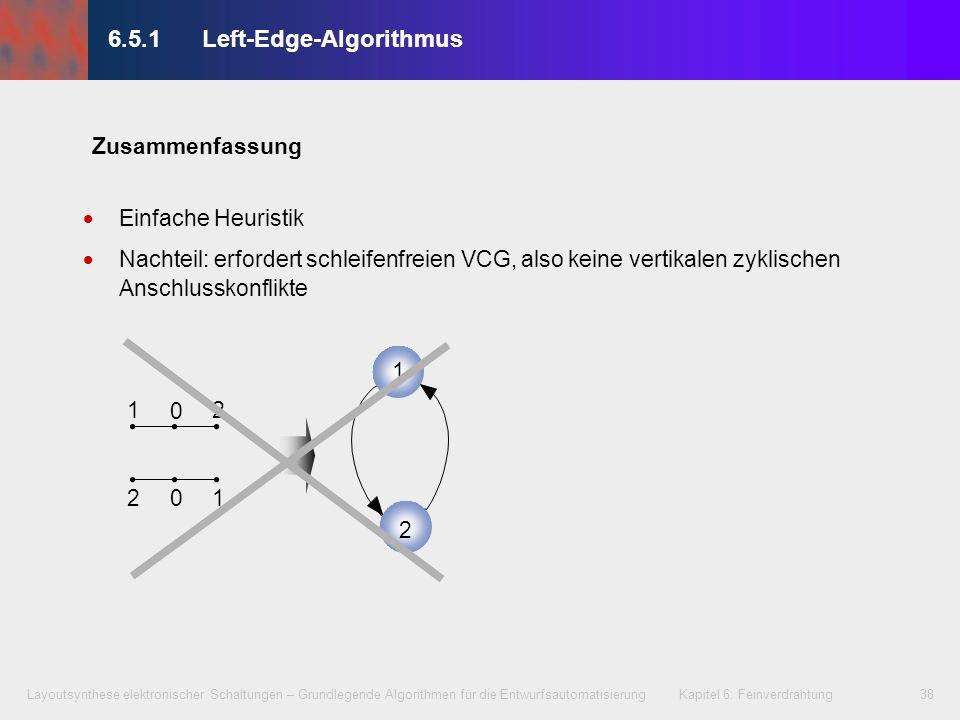 Layoutsynthese elektronischer Schaltungen – Grundlegende Algorithmen für die Entwurfsautomatisierung Kapitel 6: Feinverdrahtung39 6.5.2Dogleg-Left-Edge-Algorithmus Erweiterung des Left-Edge-Algorithmus mit Netzaufsplittungen Damit zwei wesentliche Vorteile: Kann auch bei zyklischen vertikalen Anschlusskonflikten angewendet werden Spureinsparung, d.h.