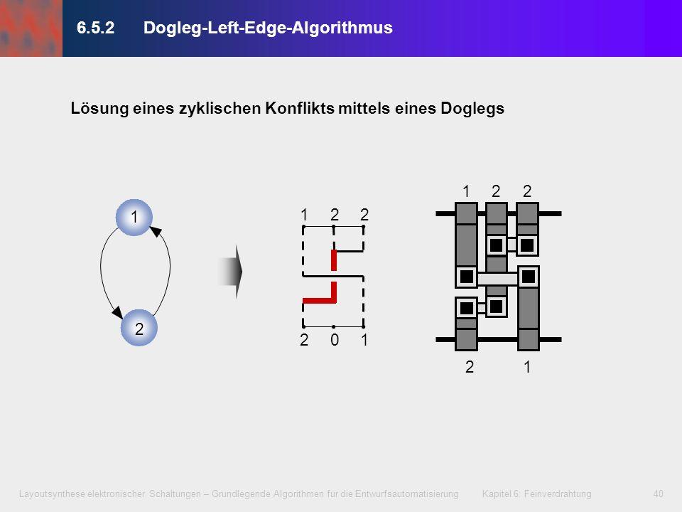 Layoutsynthese elektronischer Schaltungen – Grundlegende Algorithmen für die Entwurfsautomatisierung Kapitel 6: Feinverdrahtung41 6.5.2Dogleg-Left-Edge-Algorithmus 112 020 20 33 112 020 20 33 Spureinsparung mittels eines Doglegs