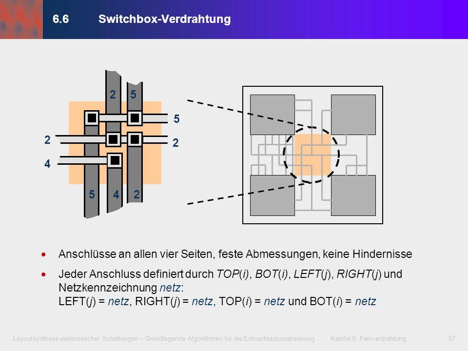 Layoutsynthese elektronischer Schaltungen – Grundlegende Algorithmen für die Entwurfsautomatisierung Kapitel 6: Feinverdrahtung58 8 1 3 5 468533 70 0 4 6 7 82280 0 0 1 2 3 6.6Switchbox-Verdrahtung R = {0, 1, 2, …, 8} x {0, 1, 2, …, 7} bcdefga 6 5 4 3 2 1 Spuren Spalten TOP= (1, 2, …, 7) = [0, 4, 6, 8, 5, 3, 3] BOT= (1, 2, …, 7) = [0, 0, 7, 8, 2, 2, 8] LEFT= (1, 2, …, 6) = [1, 0, 4, 6, 7, 0] RIGHT= (1, 2, …, 6) = [2, 8, 1, 3, 5, 3] 8 1 3 5 468533 70 0 4 6 7 822 8 0 0 0 12 3 ?
