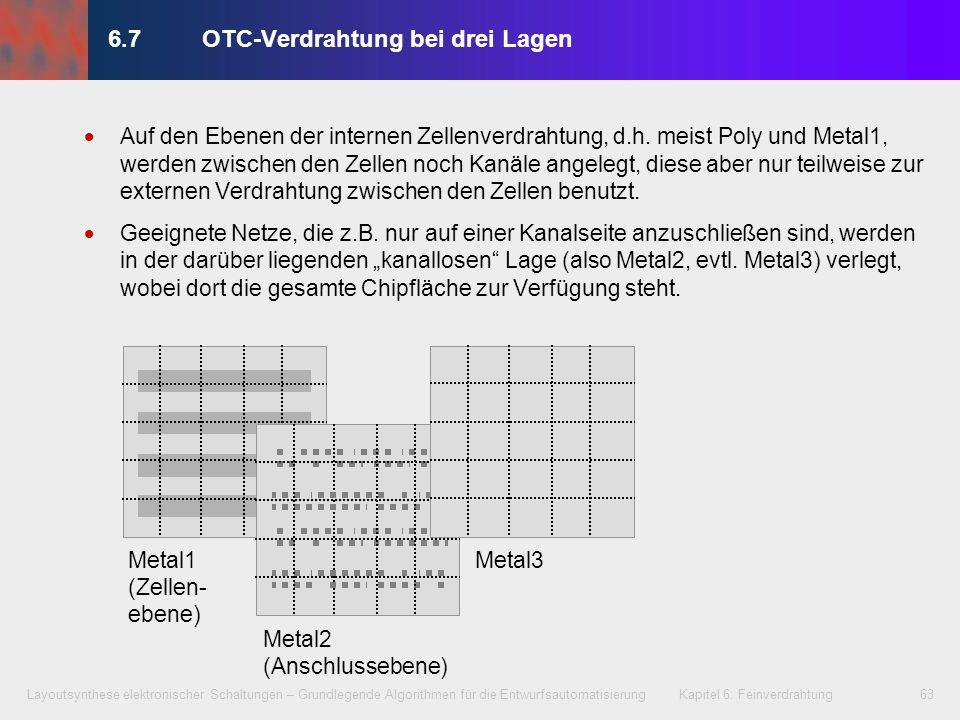 Layoutsynthese elektronischer Schaltungen – Grundlegende Algorithmen für die Entwurfsautomatisierung Kapitel 6: Feinverdrahtung64 6.7OTC-Verdrahtung bei drei Lagen Metal3 Zellfläche 22 2 2 2 3 3 34 Metal1 11 3 Auf den Ebenen der internen Zellenverdrahtung, d.h.