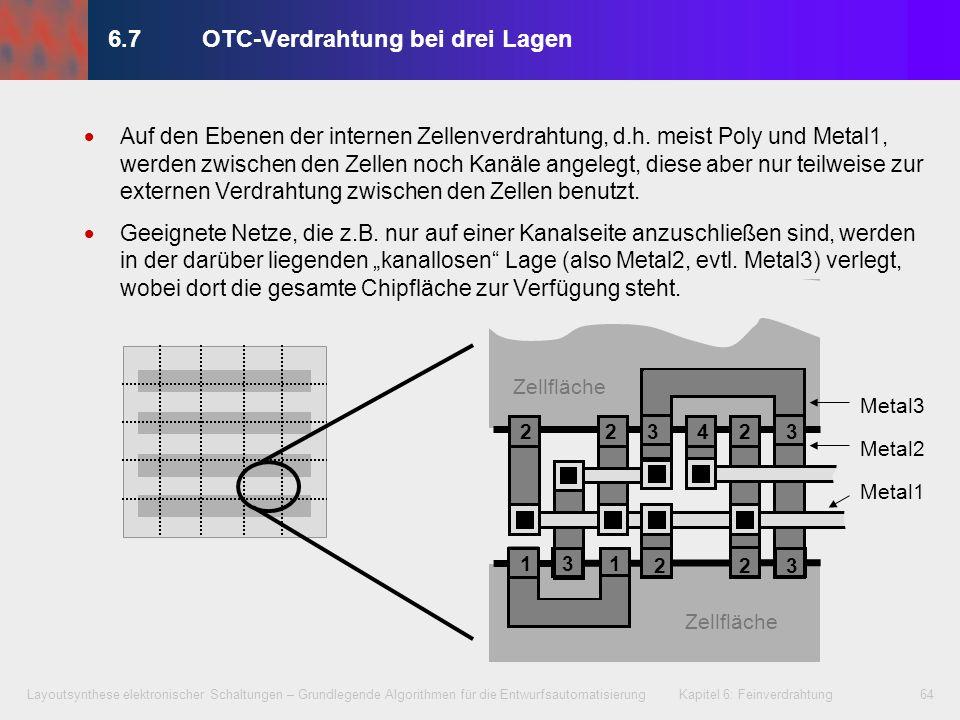 Layoutsynthese elektronischer Schaltungen – Grundlegende Algorithmen für die Entwurfsautomatisierung Kapitel 6: Feinverdrahtung65 6.7OTC-Verdrahtung bei drei Lagen Ablauf (1) 1.Auswahl von Netzen bzw.