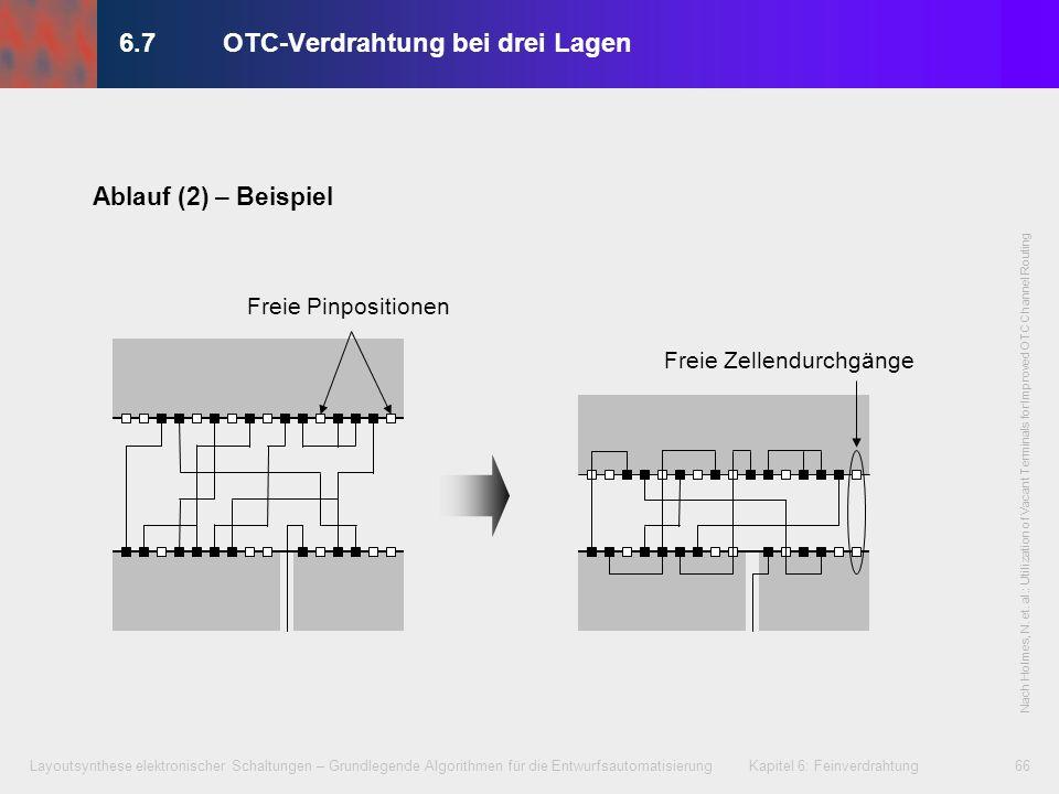 Layoutsynthese elektronischer Schaltungen – Grundlegende Algorithmen für die Entwurfsautomatisierung Kapitel 6: Feinverdrahtung67 OTC-Verdrahtung in Metal3 Kanal Zellenanschlüsse (Ports) in Metal2 Standard- zellen (nur Anschluss- darstellung) Stromversorgung Kanalverdrahtung in Metal1, Metal2 und Metal3 Metal1 Metal2 Metal3 Verdrahtung in 6.7OTC-Verdrahtung bei drei Lagen: Beispiel
