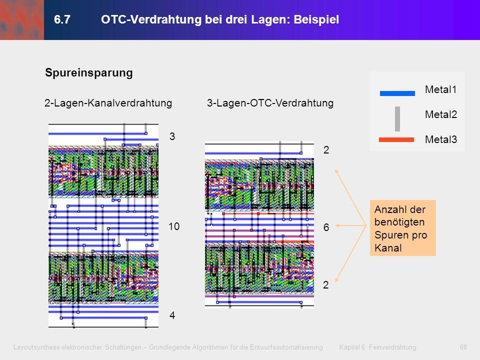 Layoutsynthese elektronischer Schaltungen – Grundlegende Algorithmen für die Entwurfsautomatisierung Kapitel 6: Feinverdrahtung69 Kapitel 6 – Feinverdrahtung 6.1Einführung 6.2Begriffsbestimmungen 6.3Horizontaler und vertikaler Verträglichkeitsgraph 6.3.1 Horizontale Verträglichkeitsdarstellung 6.3.2 Vertikale Verträglichkeitsdarstellung 6.4Optimierungsziele 6.5Algorithmen für die Kanalverdrahtung 6.5.1 Left-Edge-Algorithmus 6.5.2 Dogleg-Left-Edge-Algorithmus 6.5.3 Greedy-Kanalverdrahter (Greedy Channel Router) 6.6Switchbox-Verdrahtung 6.7OTC-Verdrahtung bei drei Lagen 6.8Multilayer-OTC-Verdrahtung