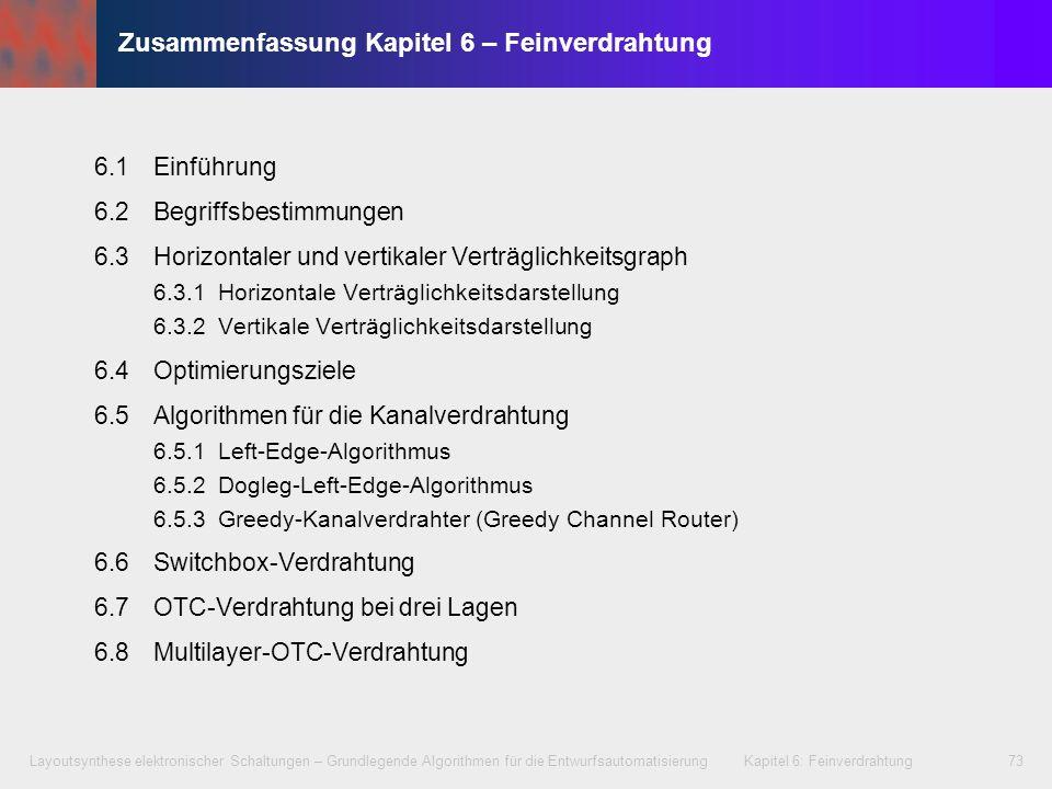 Layoutsynthese elektronischer Schaltungen – Grundlegende Algorithmen für die Entwurfsautomatisierung Kapitel 6: Feinverdrahtung73 Zusammenfassung Kapi