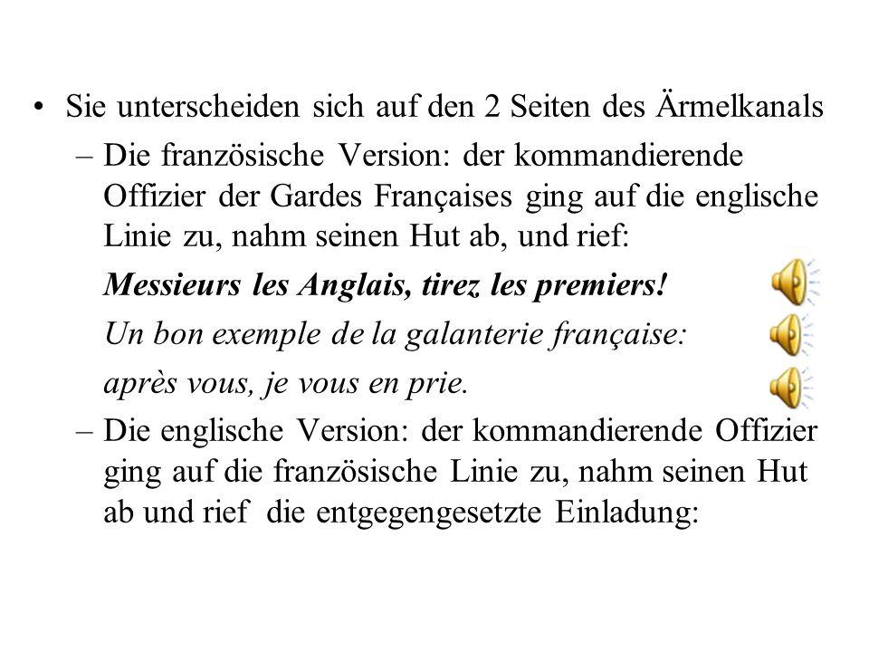 –Beispiel aus französich-englischer Militärgeschichte zeigt die 3 Funktionen sprachlicher Kommunikation.