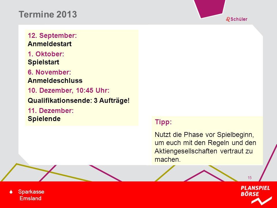 bSchüler S Sparkasse Emsland 12. September: Anmeldestart 1. Oktober: Spielstart 6. November: Anmeldeschluss 10. Dezember, 10:45 Uhr: Qualifikationsend