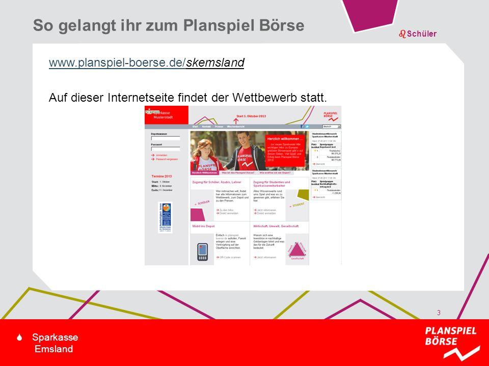 bSchüler S Sparkasse Emsland www.planspiel-boerse.de/skemsland Auf dieser Internetseite findet der Wettbewerb statt. So gelangt ihr zum Planspiel Börs